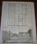 antique print (prent) - Het nieuwezijds huiszitten aalmoesseniers huis. (Amsterdam).